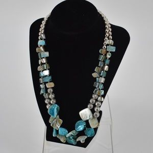 Teal and Silver Beaded necklace adjustable clasp
